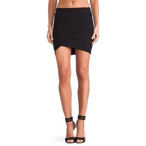 James Perse Ruched Wrap Mini Skirt in Black